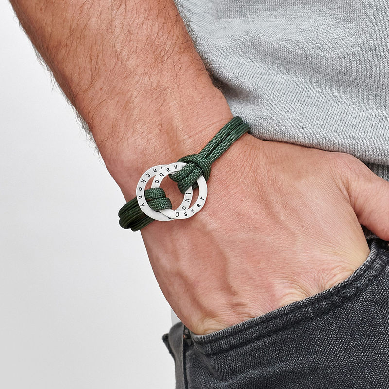 Paracord-Herren-Armband mit gravierten Ringen - 2