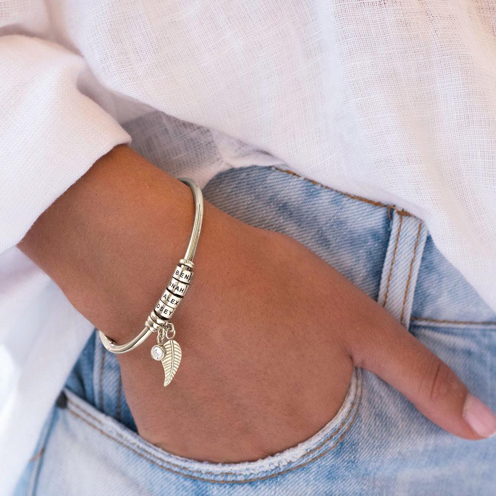 Kreisanhänger-armreif mit Blatt und personalisierten Beads™ aus Sterlingsilber mit Diamant - 4