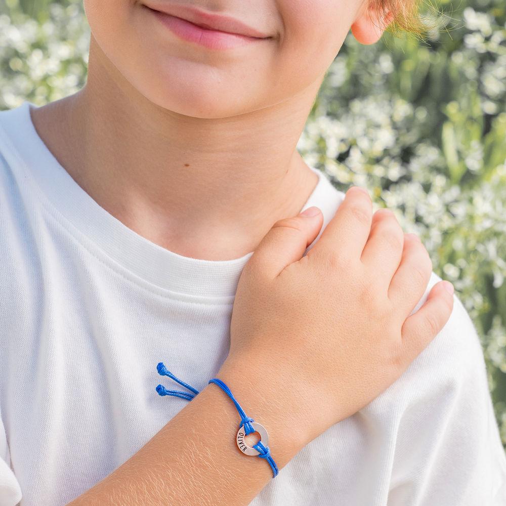 ID Wax Cord Armband aus Sterlingsilber für Kinder - 4