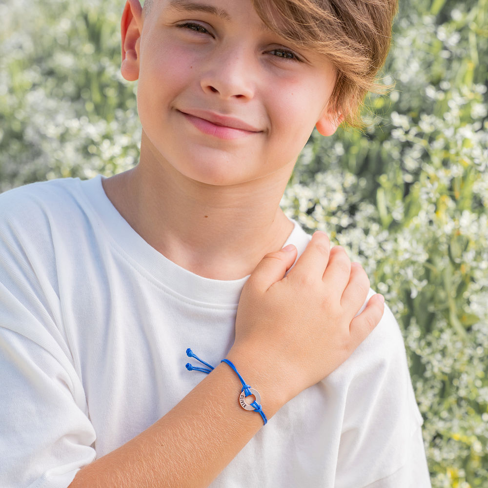 ID Wax Cord Armband aus Sterlingsilber für Kinder - 5