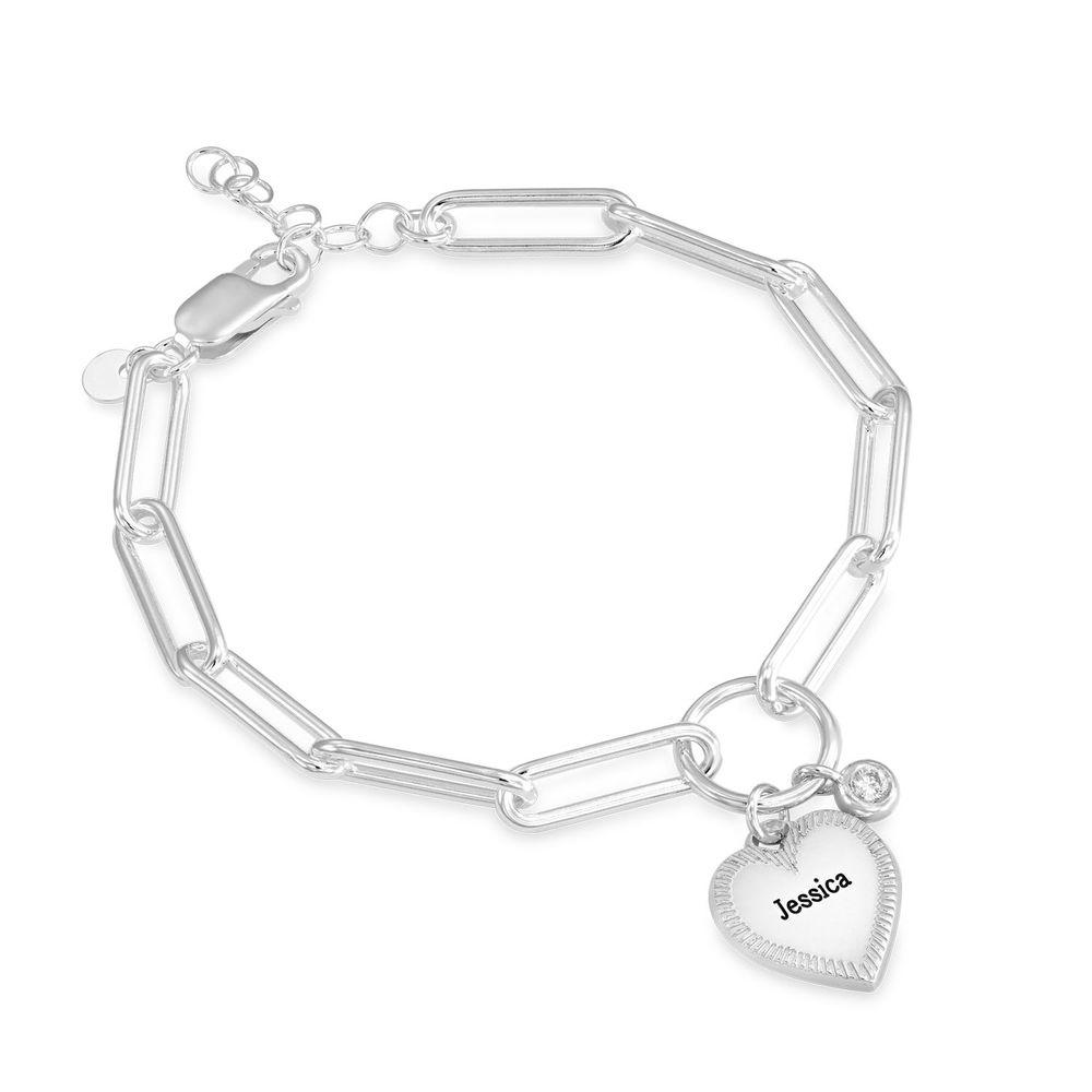 Herz Gliederarmband aus Silber mit Diamant