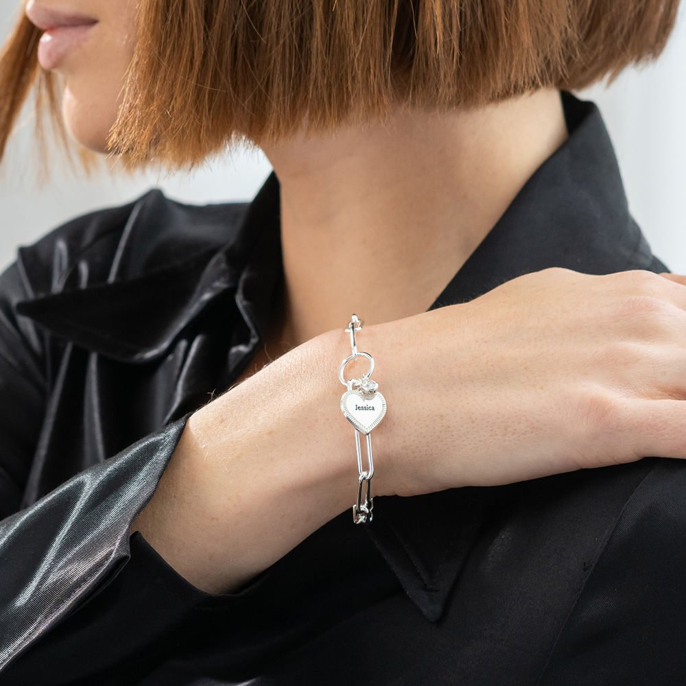 Herz Gliederarmband aus Silber mit Diamant - 2