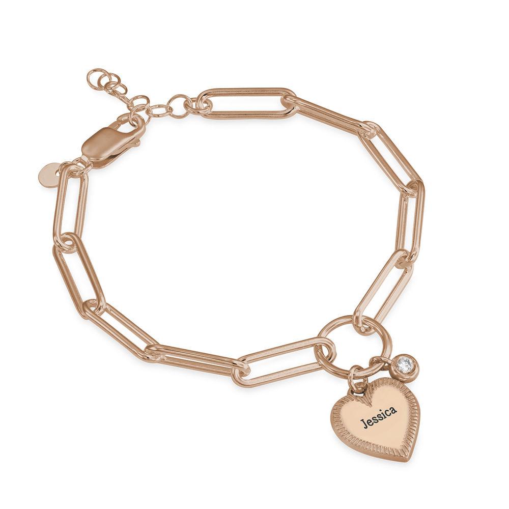 Herz Gliederarmband aus Roségold-Beschichtung mit Diamant