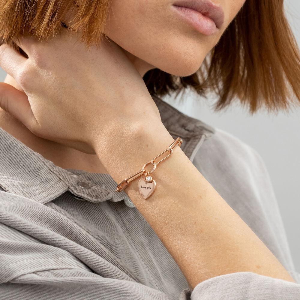 Herz Gliederarmband aus Roségold-Beschichtung mit Diamant - 2