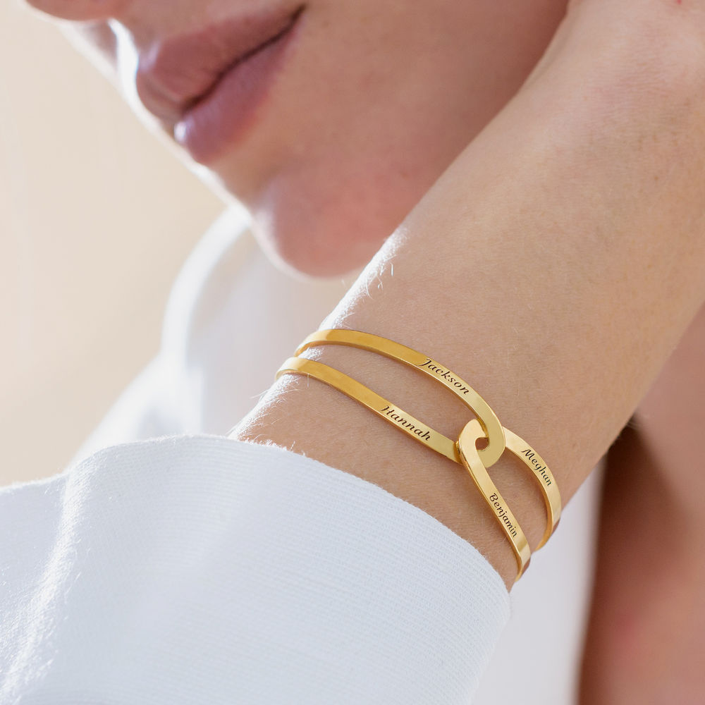 Hand in Hand - personalisierter Armreif aus 750er vergoldetes 925er Silber - 5