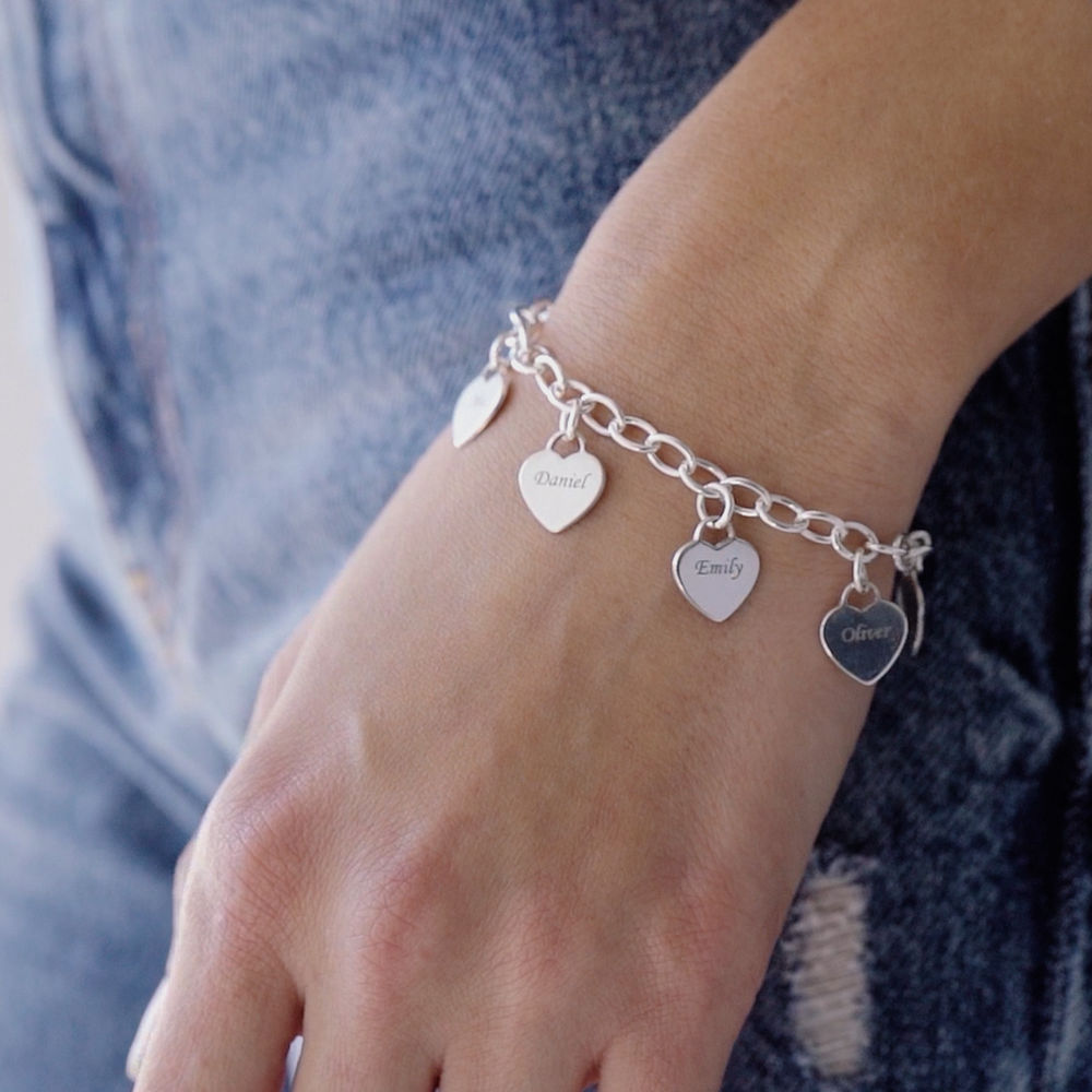 Gravierbares 925er Silber Armband mit Herz Charms - 1