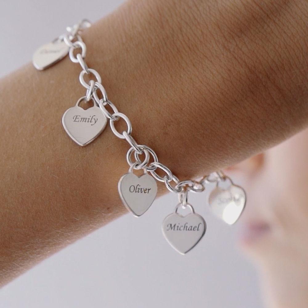 Gravierbares 925er Silber Armband mit Herz Charms - 2