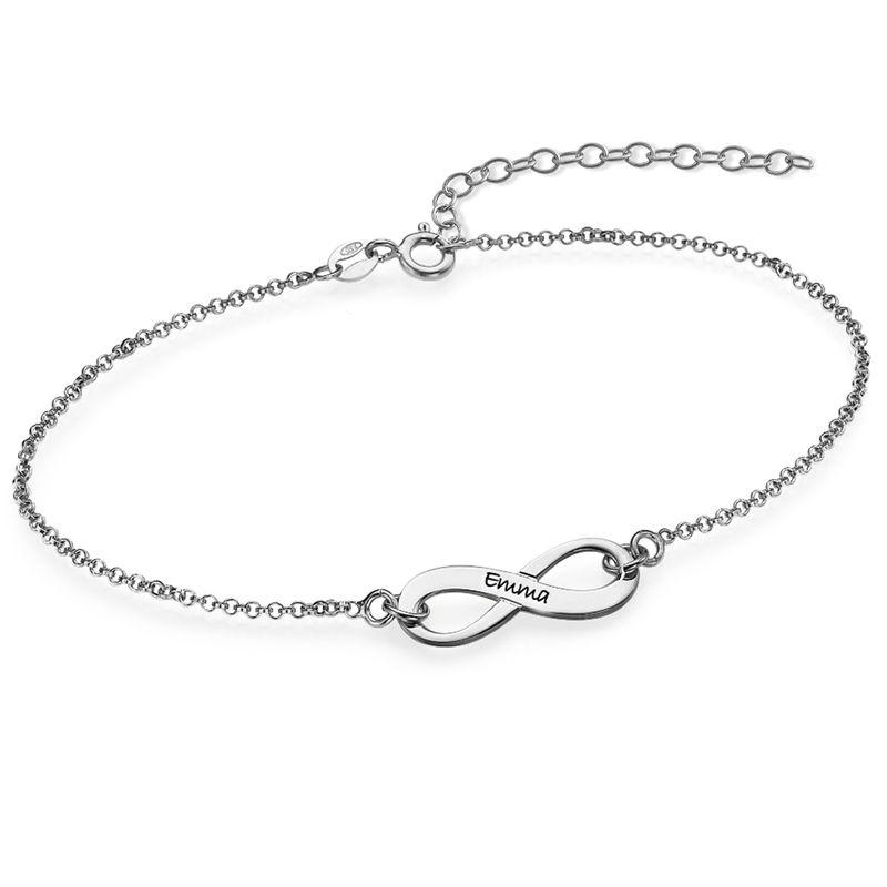 925er Silber Infinity-Unendlich Armband mit Gravur
