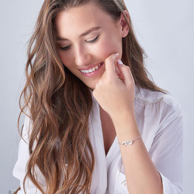 925er Silber Infinity-Unendlich Armband mit Gravur - 2
