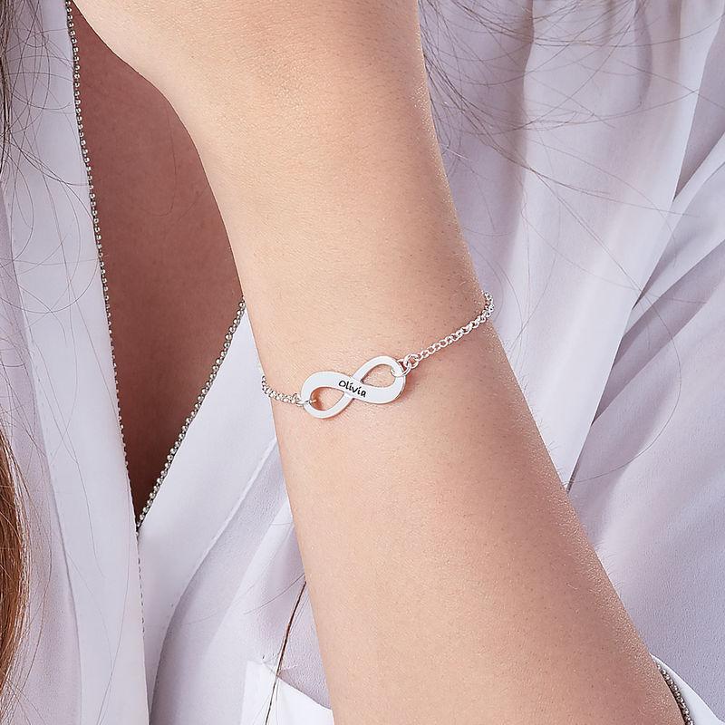925er Silber Infinity-Unendlich Armband mit Gravur - 3