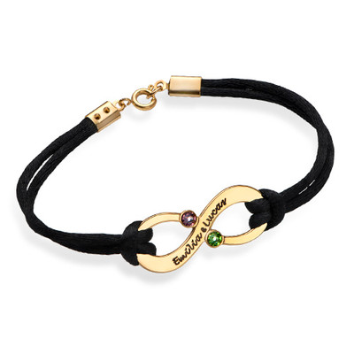 Vergoldetes Infinity-Armband mit Gravur und Geburtssteinen für Pärchen