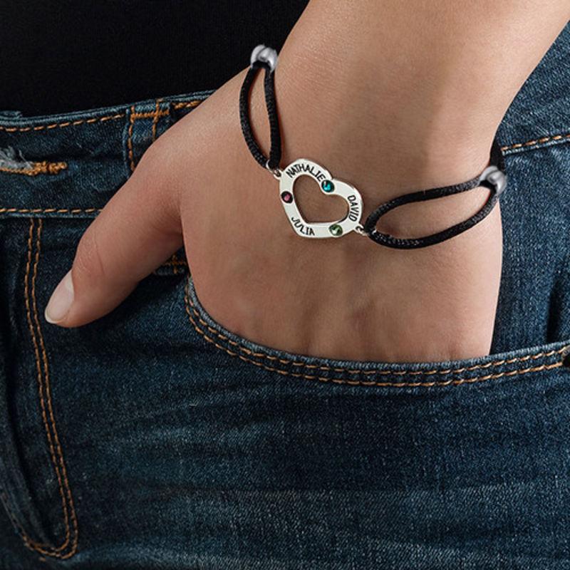 Herz-Armband mit Gravur und Geburtssteinen - 2