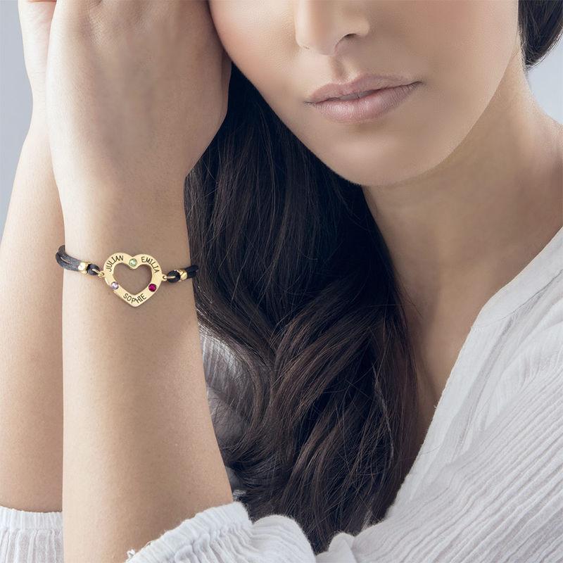750er vergoldetes Herz-Armband mit Gravur und Geburtssteinen - 2