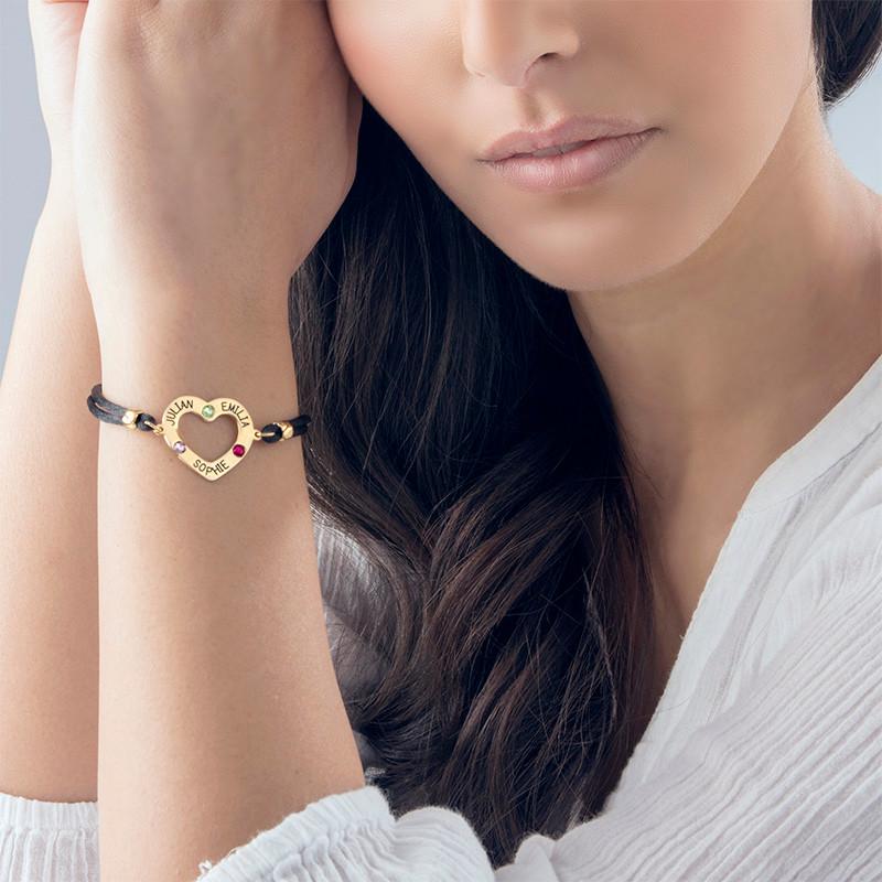 750er vergoldetes Herz-Armband mit Gravur und Geburtssteinen - 3