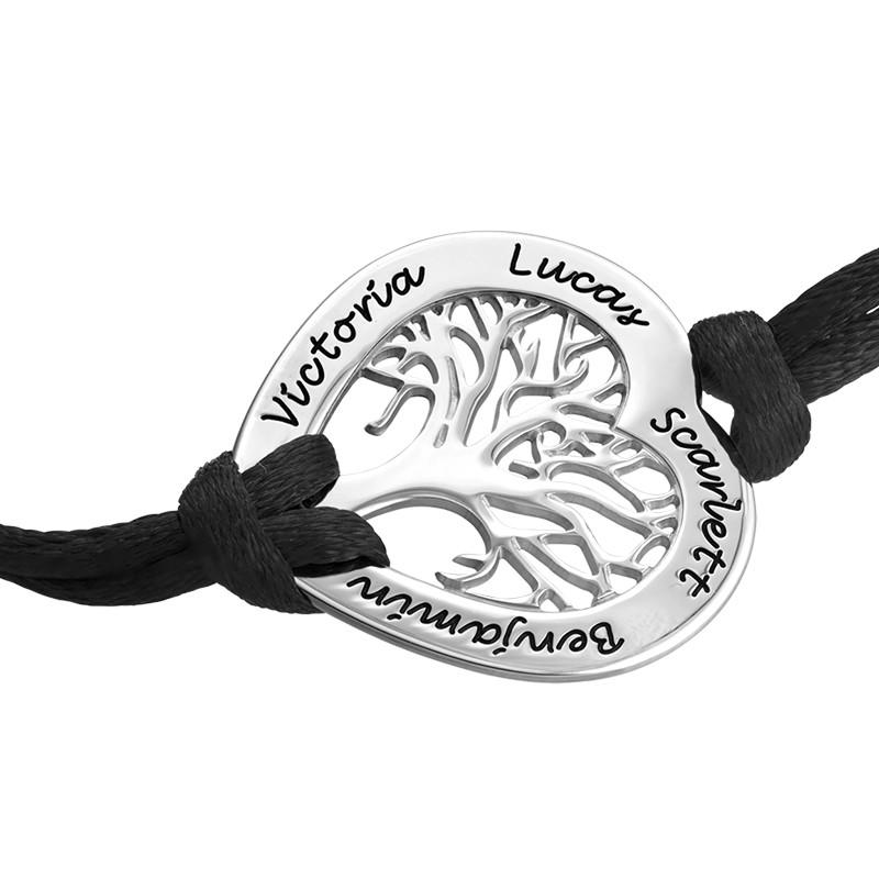Silber Stammbaum-Armband mit Gravur in Herzform - 1