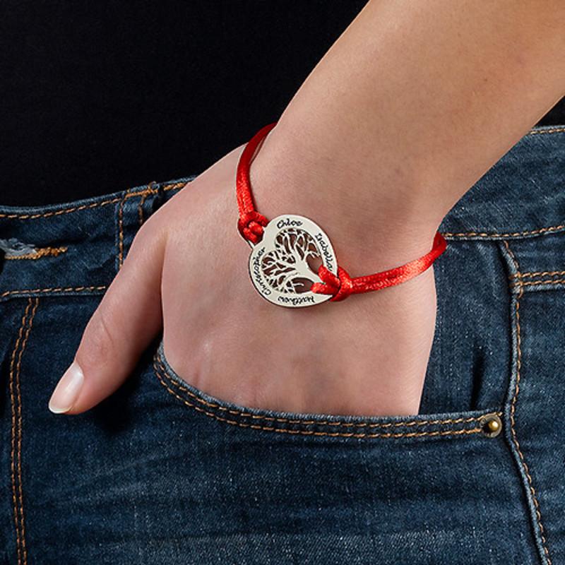 Silber Stammbaum-Armband mit Gravur in Herzform - 2
