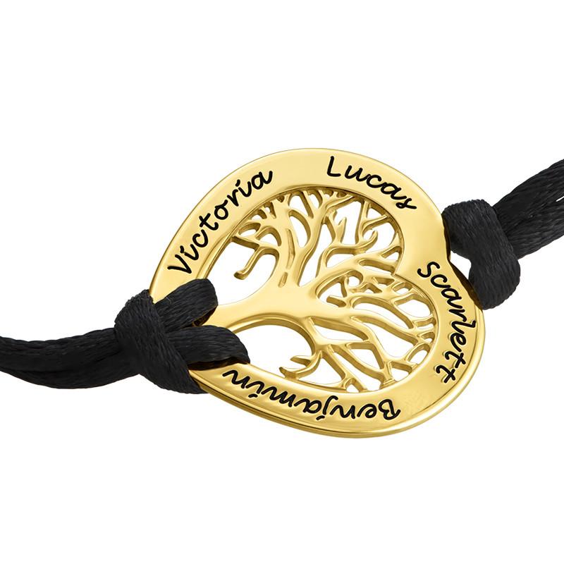 Vergoldetes Stammbaum Armband mit Gravur in Herzform - 1