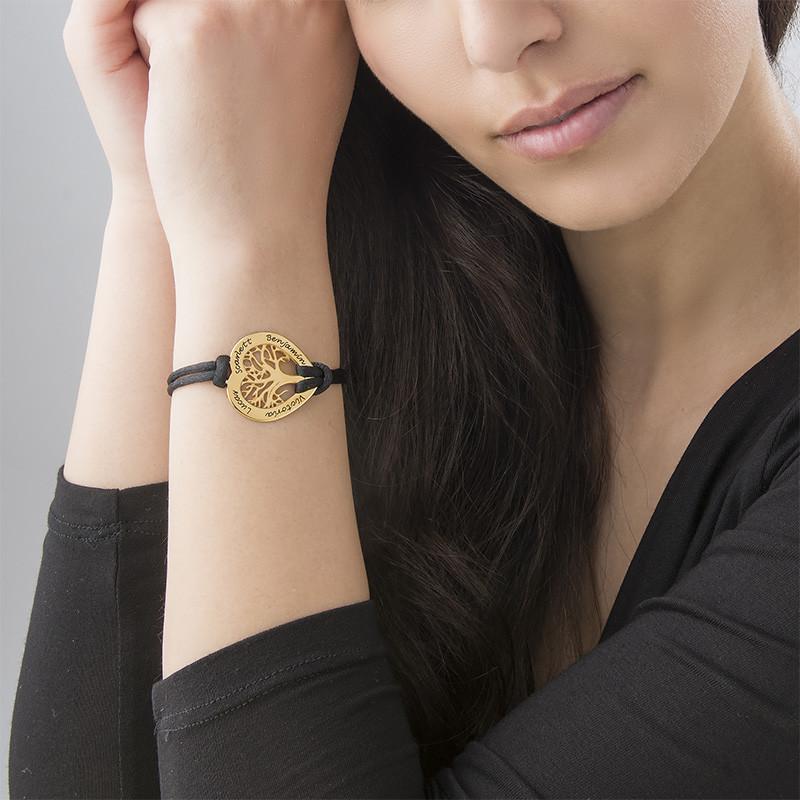 Vergoldetes Stammbaum Armband mit Gravur in Herzform - 2
