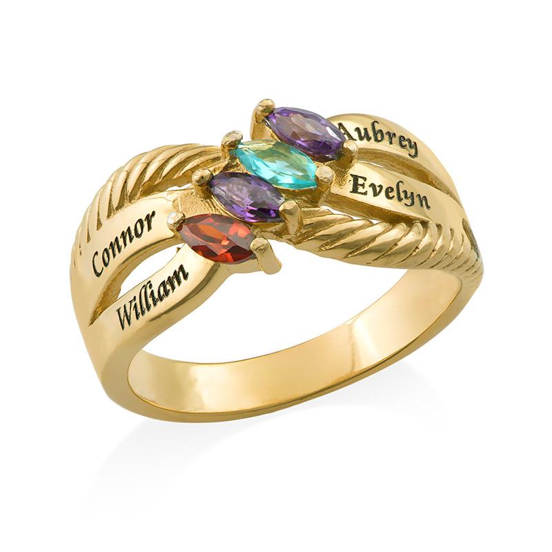 Vergoldeter Silberring mit vier Steinchen für Mütter