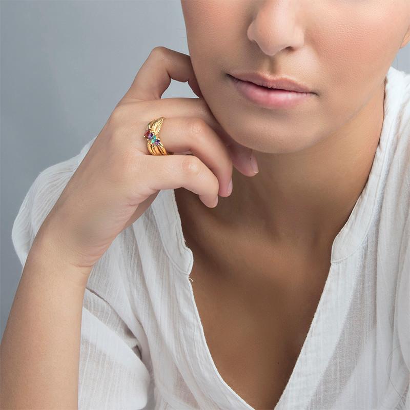 Vergoldeter Silberring mit vier Steinchen für Mütter - 2