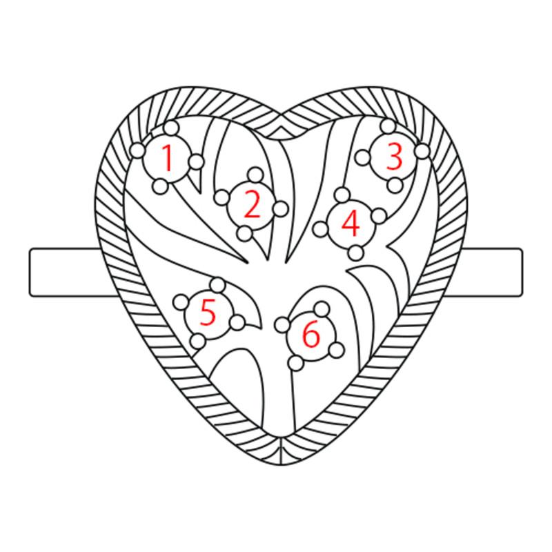 Herzförmiger Geburtssteinring aus vergoldeten Silber - 4
