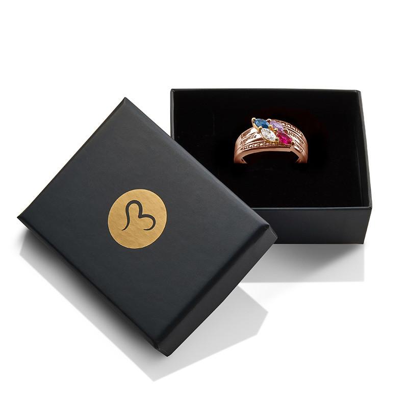 Mutterring mit 4 Steinen - rosévergoldet - 1