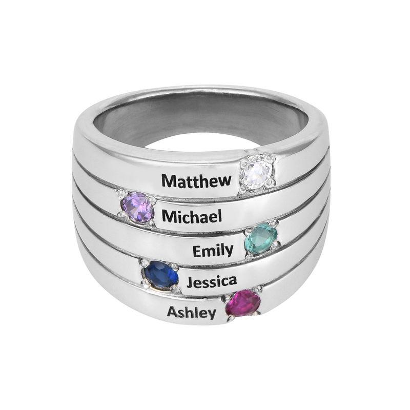 Silberring mit fünf Steinchen für Mütter