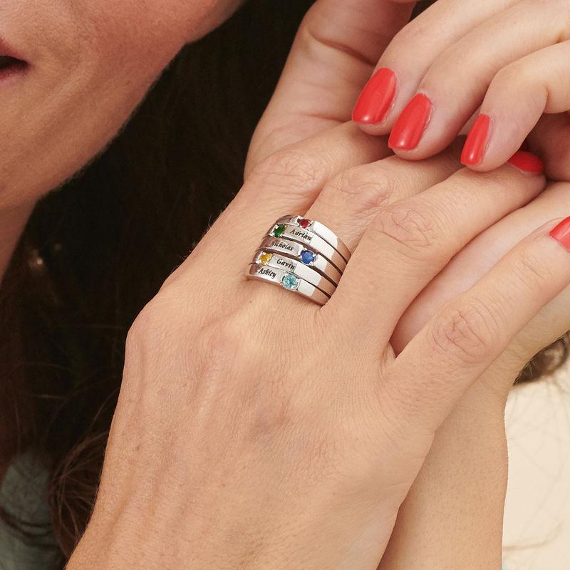 Silberring mit fünf Steinchen für Mütter - 3