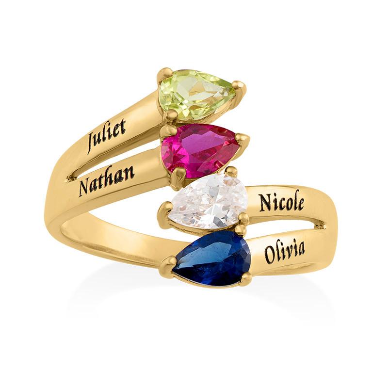 Vergoldeter Ring mit vier Geburtssteinen für Mütter - 1
