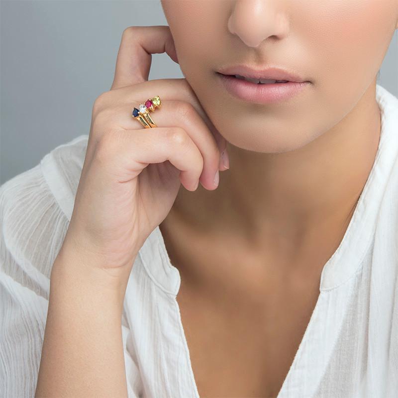 Vergoldeter Ring mit vier Geburtssteinen für Mütter - 2