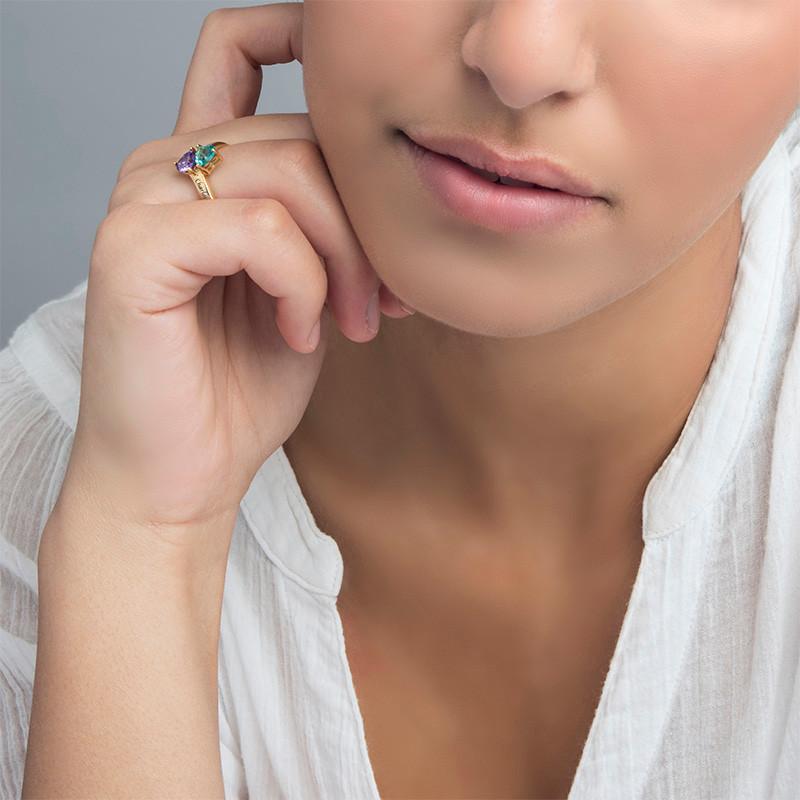 Personalisierbarer Geburtsstein-Ring aus vergoldetem Silber - 2