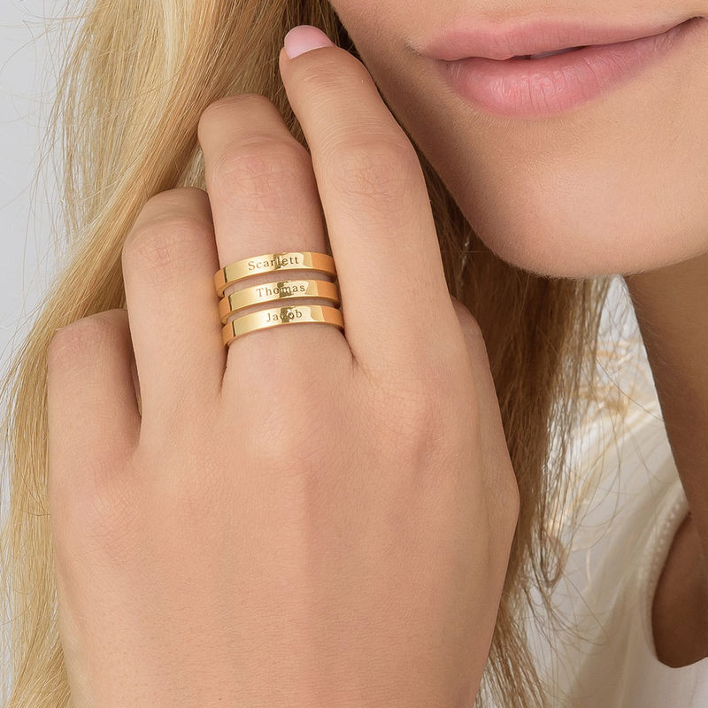 Namensring mit drei Namen in Gold-Vermeil - 3