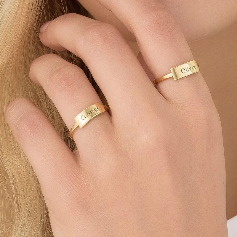 Gravierter Silberring mit Namensplakette - vergoldet - 3