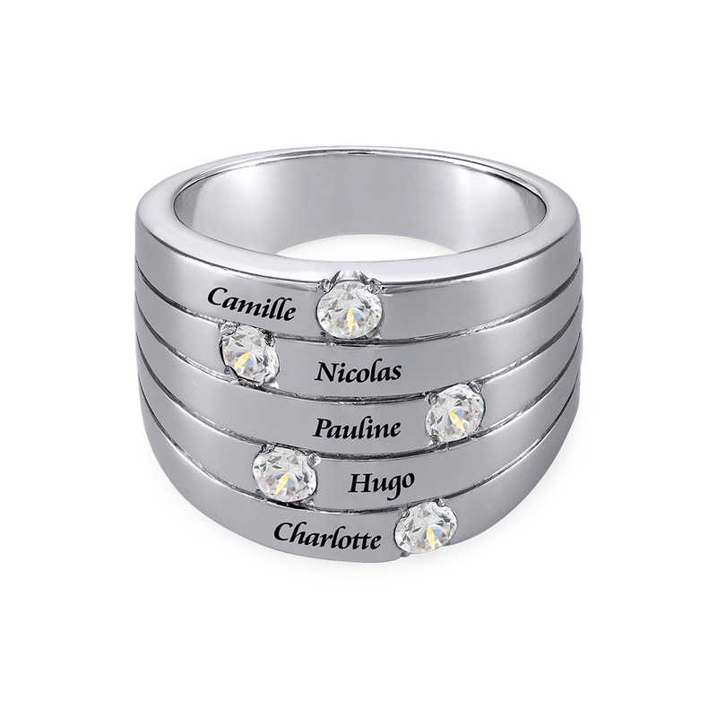 Silberring mit fünf Kristall Steinchen für Mütter - 1