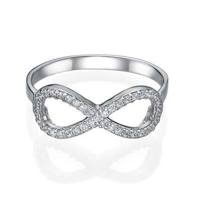 925er Silber Infinity-Unendlich Ring mit Zirkonia Edelsteinen - 1