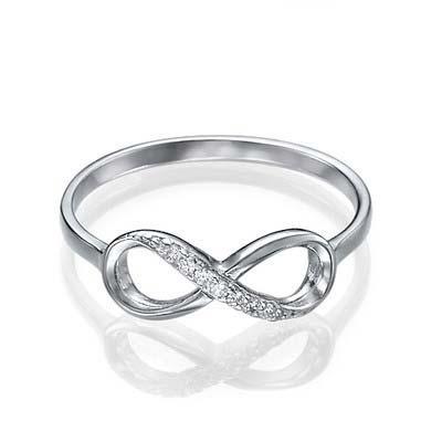 Infinity-Unendlich Ring mit Zirkonia Edelsteinen - 1