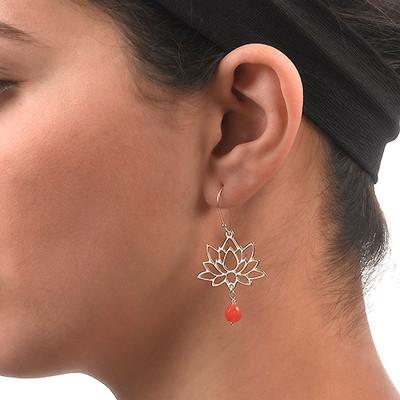 Lotusblüten-Ohrringe aus Sterling Silber - 2