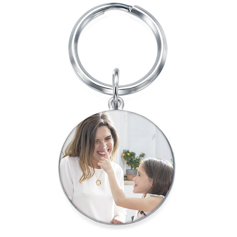 Runder Schlüsselanhänger mit Foto und Gravur