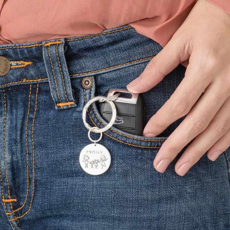 Personalisierter Scheiben-Schlüsselanhänger mit Kinderzeichnungen - 3