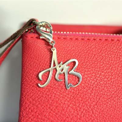 925er Silber Buchstaben Taschen/Portemonnaie Anhänger - 1