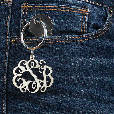 Sterling Silber Celebrity Monogram Schlüsselanhänger - 1