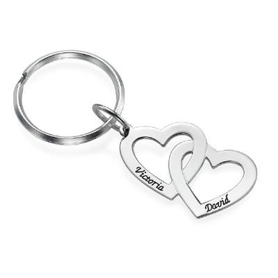 Silber Herz in Herz Schlüsselanhänger
