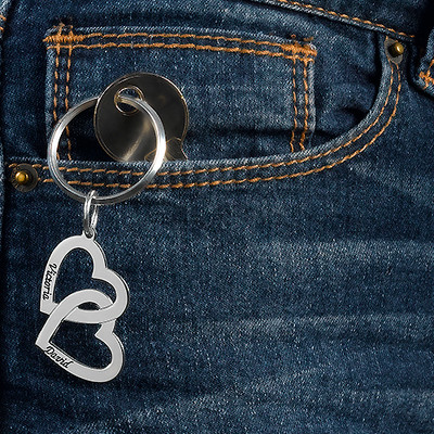 Silber Herz in Herz Schlüsselanhänger - 1