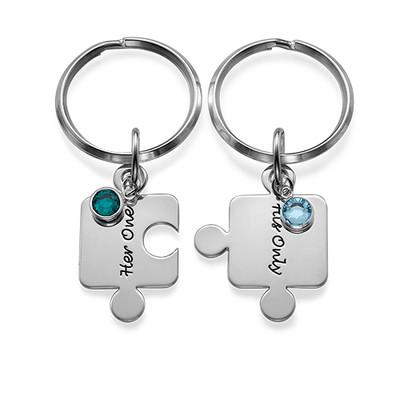 Partner Schlüsselanhänger mit Geburtssteinen - 3