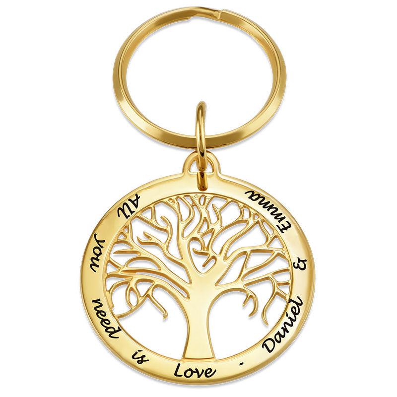 Personalisierter Schlüsselanhänger mit Lebensbaum und Gold-Beschichtung - 1