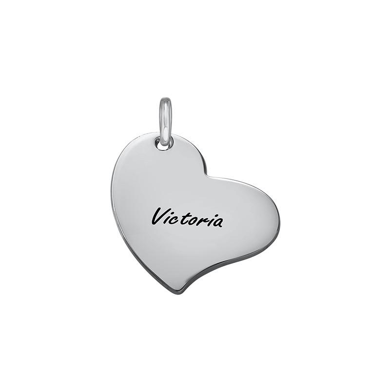 Gravierbarer Herz Charm Anhänger - Silber