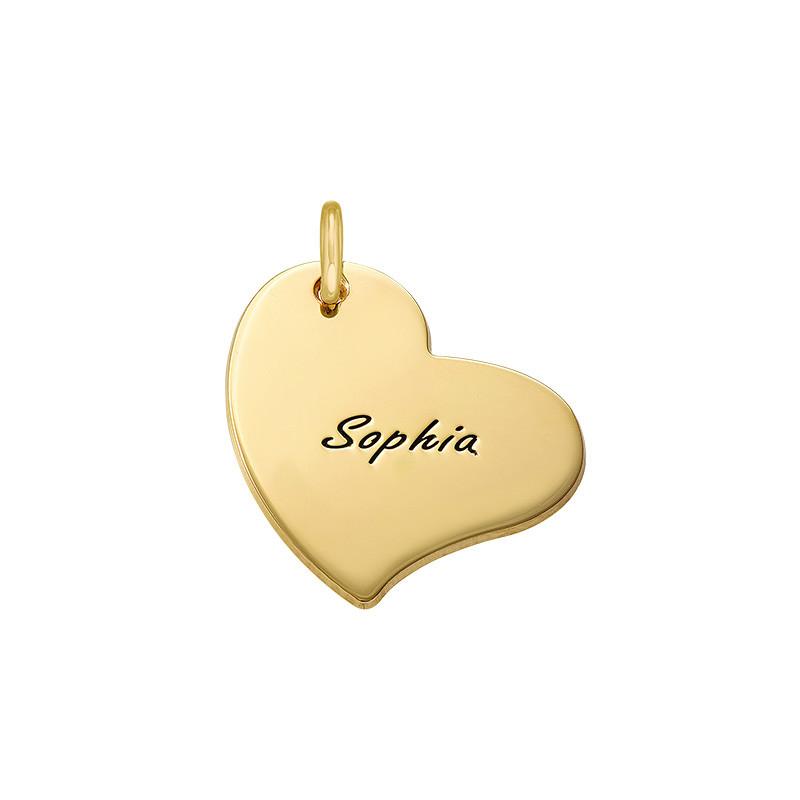 Gravierbarer Herz Charm Anhänger - Vergoldet