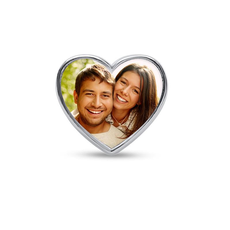 Herzförmige Foto-Charm-Perle