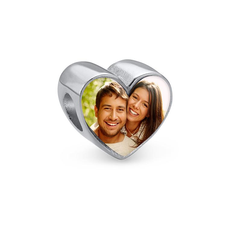 Herzförmige Foto-Charm-Perle - 1
