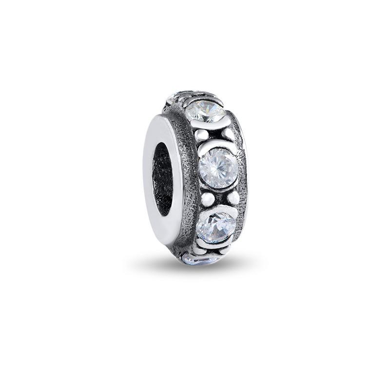 Runde Charm-Perle mit Zirkonia